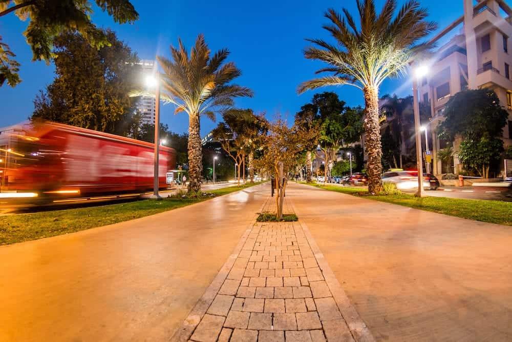 Boulevard Rothschild illuminated in the evening, Tel Aviv, Israel.