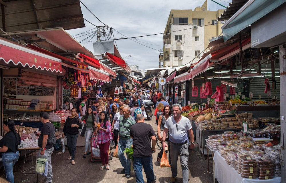 TEL-AVIV, ISRAEL - Many people at Carmel Market, popular marketplace in Tel-Aviv. Israel
