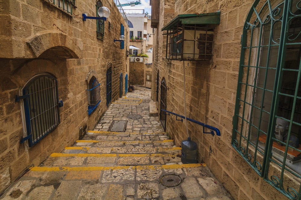 The old narrow streets of Jaffa. Tel Aviv Israel.