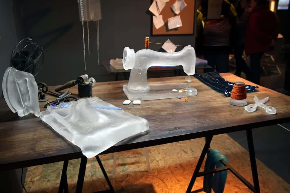 """TEL AVIV ISRAEL - Desk tailor at the Exhibition """"The Israeli Glass 2015"""" in the Eretz Israel Museum Tel Aviv"""
