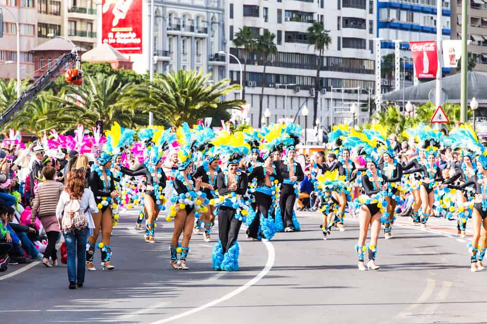 TENERIFE, SPAIN - In the famous Carnival the Santa Cruz de Tenerife, characters and groups to the rhythm of percussion. Tenerife, Canary Islands, Spain