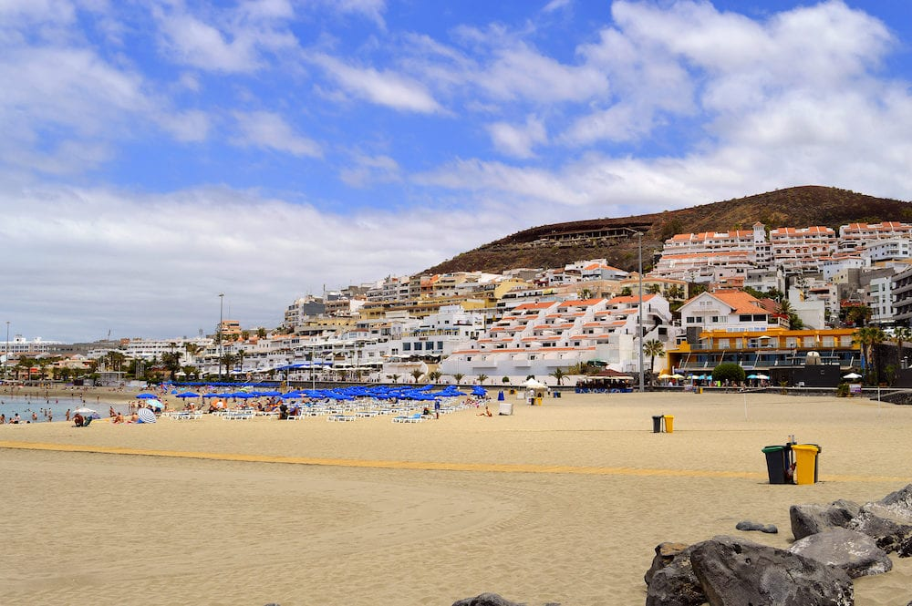 Los Cristianos beach Tenerife Canary Islands Spain Europe - Hotels and apartments in Los Crristianos