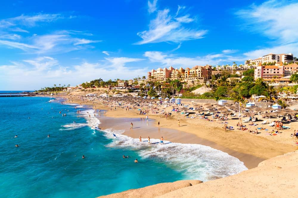 Summer holiday on El Duque beach in Tenerife, famous Adeje coast on Canary island - Spain