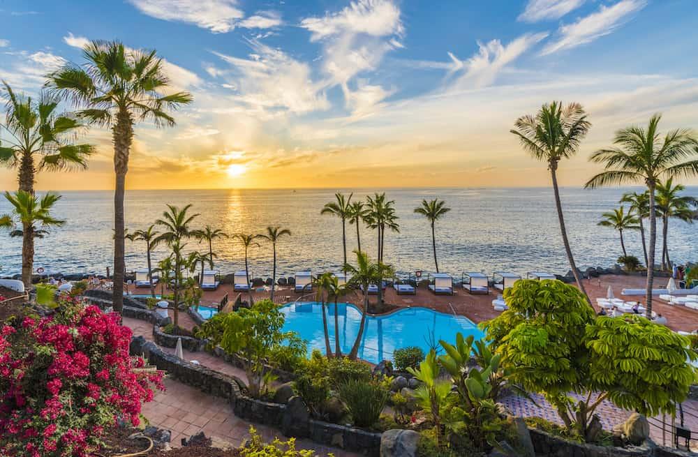 Sunset on the Adeje coast Tenerife Spain