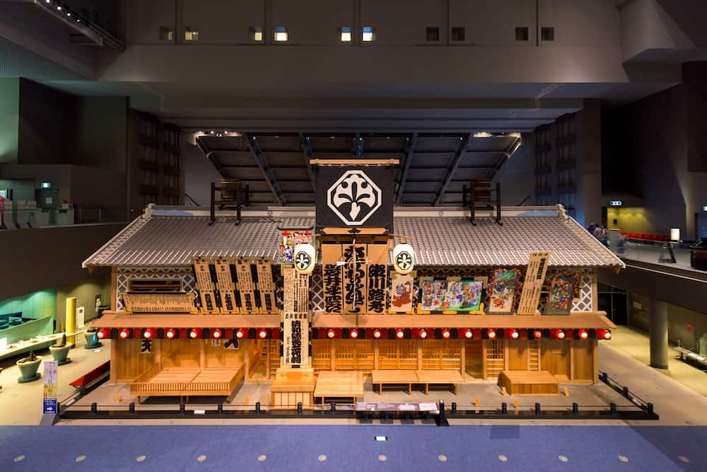 TOKYO, JAPAN - Historic building recreations at Edo Museum. The museum illustrates the past of Tokyo, once kown as Edo.