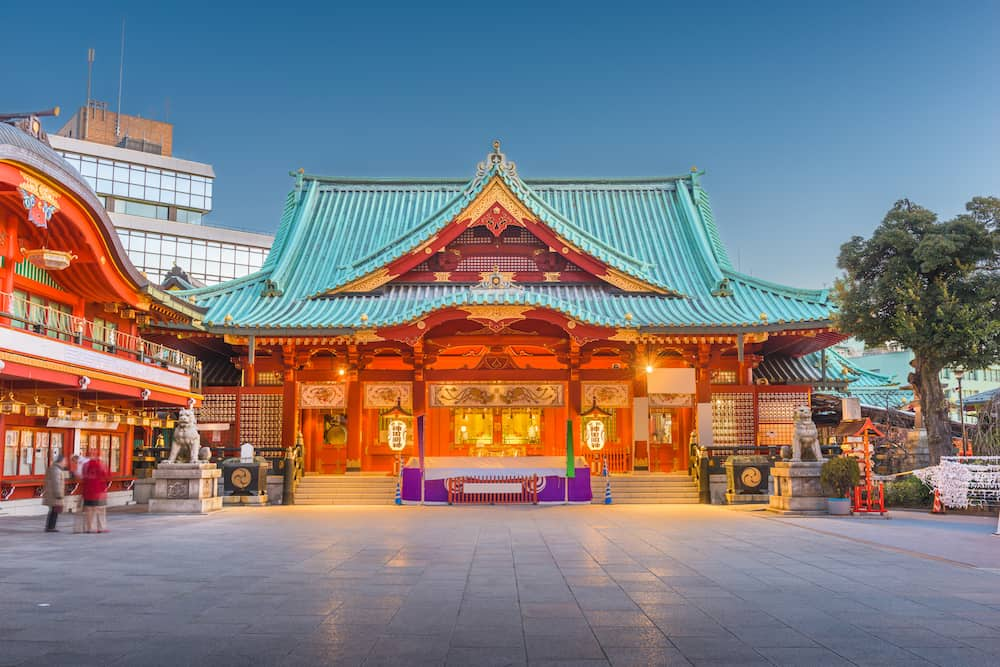 Tokyo, Japan at Kanda Shrine at twilight.