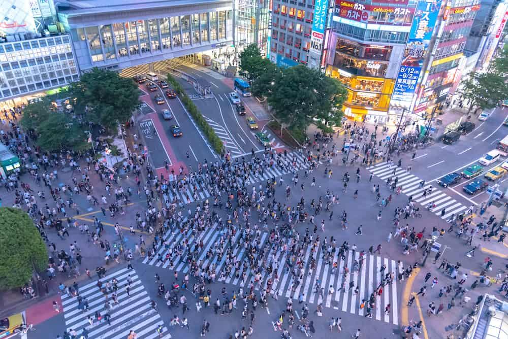 Shibuya, Tokyo, Japan - Pedestrians crosswalk at Shibuya district in Tokyo, Japan. Shibuya Crossing is one of the busiest crosswalks in the world.