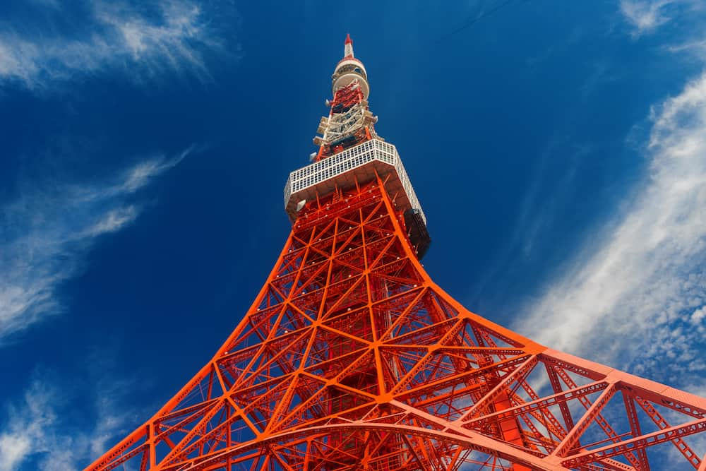 TOKYO, JAPAN - The famous Tokyo Tower seen from below, a city landmark in Tokyo, Japan