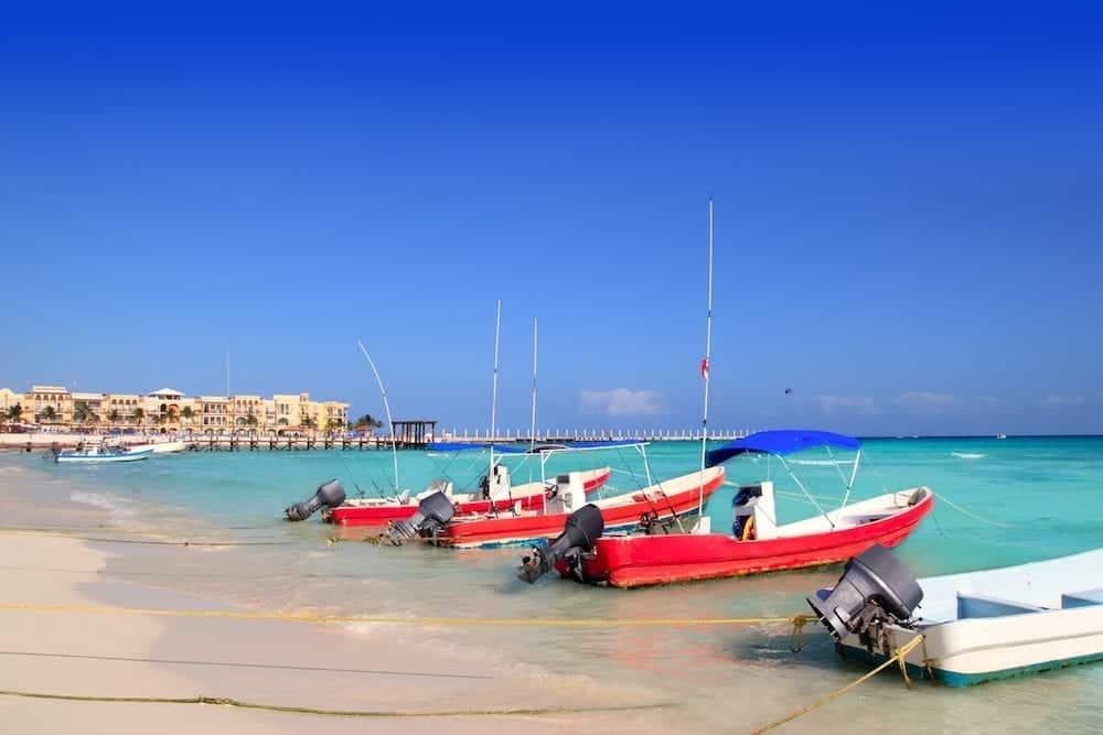 playa del Carmen mexico Mayan Riviera beach boats Caribbean sea