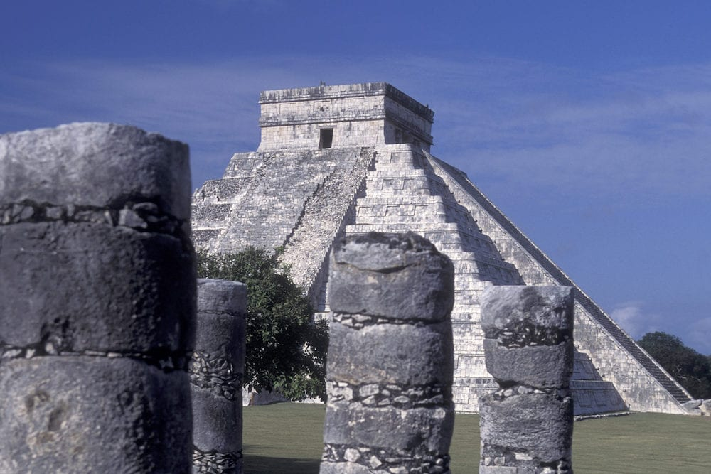 the maya ruins of Tulum at the beach of Tulum in the Province Quintana Roo in Mexico in Central America.