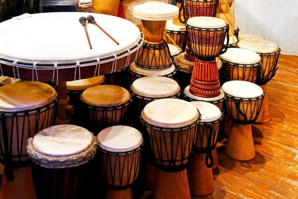 Bunch of traditional hand made leather drums
