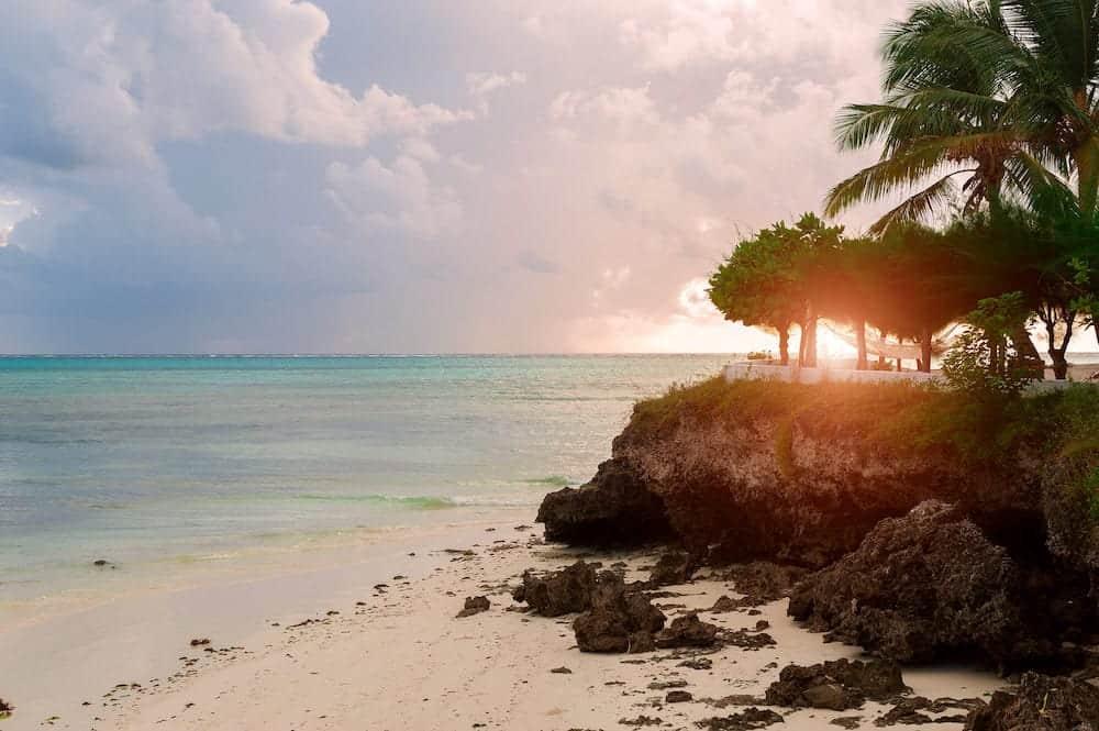 Dawn over the Indian ocean. Sun and sky in the tropics. The Island Of Zanzibar, Tanzania