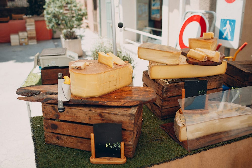 Cheese on store shelves in saint tropez