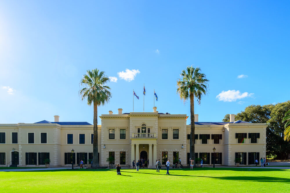Adelaide Australia - Government House exterior viewed from inside the grounds during the open day.