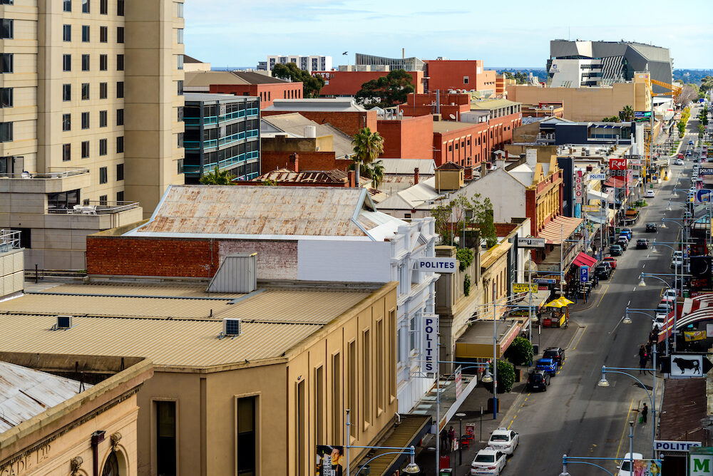 Adelaide Australia - Rundle street top view looking towards west in Adelaide city centre on a day