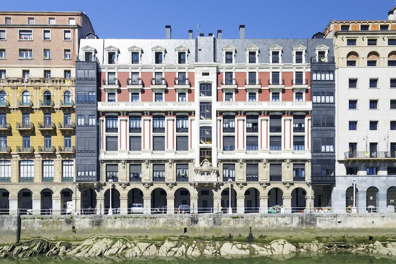 Old town near the Nervion river in Bilbao Basque Country (Spain)