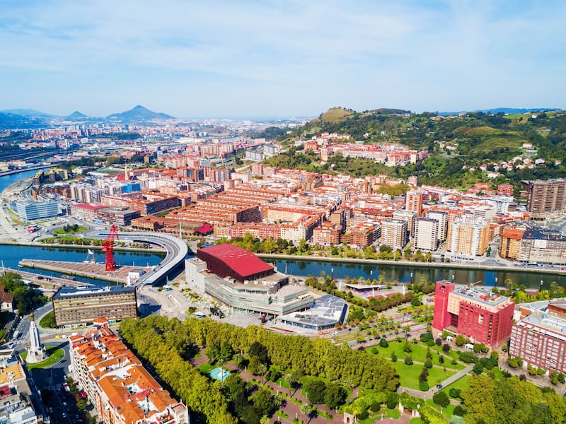 Bilbao aerial panoramic view. Bilbao is the largest city in the Basque Country in northern Spain.