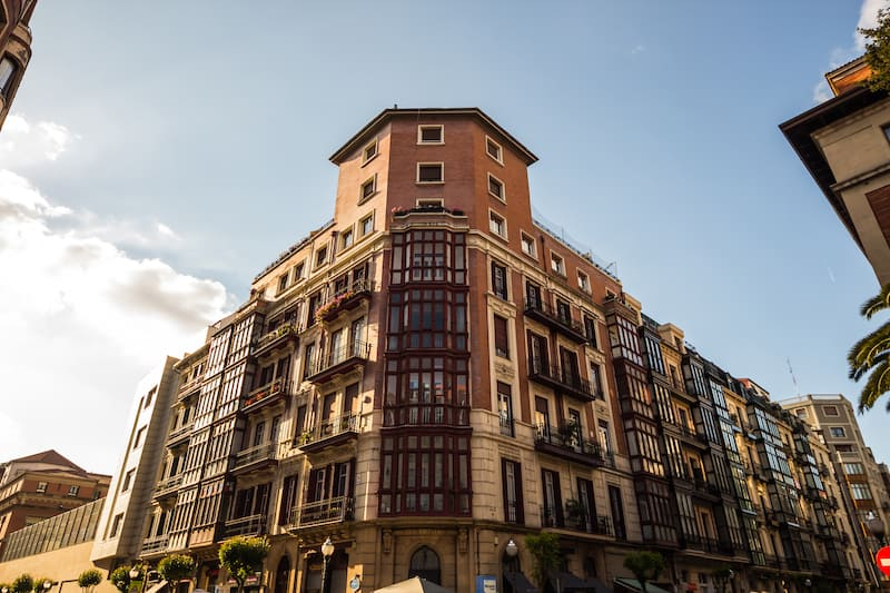 old facade of a palace in Bilbao Spain