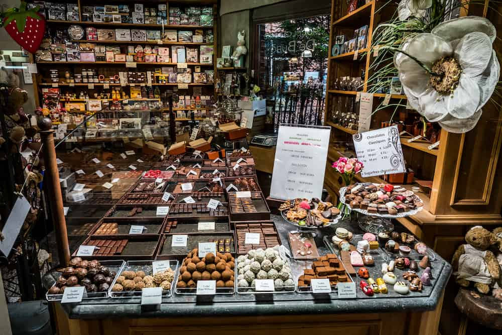 Bruges, Belgium - Belgian chocolate produced in Belgium. A major industry since the 19th century, today it forms an important part of the nation's economy and culture.