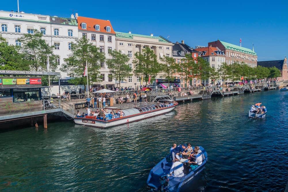 COPENHAGEN, DENMARK Boat traffic on a canal in Copenhagen, Denmark