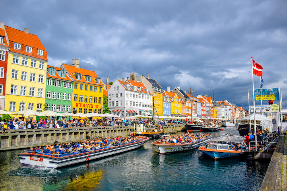 COPENHAGEN, DENMARK Nyhavn, 17th century waterfront, canal and entertainment district and the popular tourist destination in Copenhagen, Denmark