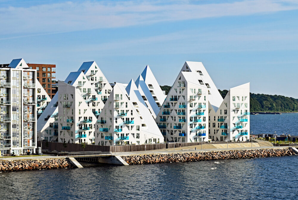 "Aarhus, Denmark - View from the sea side to the residential complex ""Isbjerget"" (Iceberg) in Aarhus, Denmark."