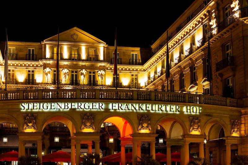 Frankfurt, Germany, - Night shot of the famous luxury hotel Steigenberger Frankfurter Hof downtown