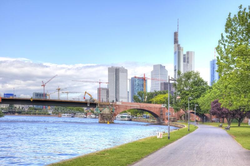FRANKFURT AM MAIN, GERMANY - City landscape. Main river embankment and bridge