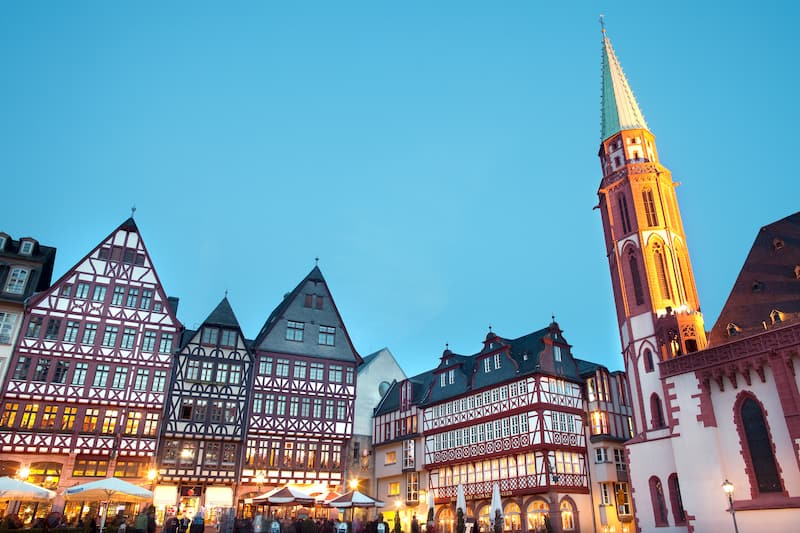 Frankfurt am Main, Hesse, Germany - Night life at restaurants and Souvenir Shops at Romerberg square, the old town center and the Romer building.