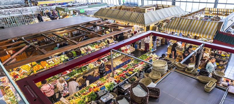FRANKFURT GERMANY - people enjoy shopping in the Kleinmarkthalle in Frankfurt Germany. The hall from 1954 is the most famous fresh food market in Frankfurt on 1500 SQ (m2).