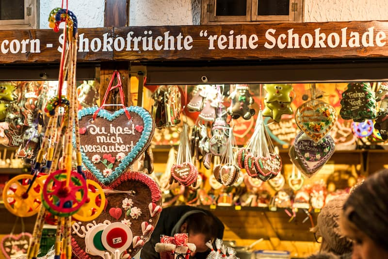 Koblenz Germany Christmas market in the old town of Koblenz Selling traditional sweets and gingerbread
