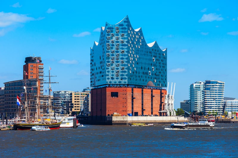 HAMBURG, GERMANY - Elbe Philharmonic or Elbphilharmonie is a concert hall in the HafenCity quarter of Hamburg in Germany