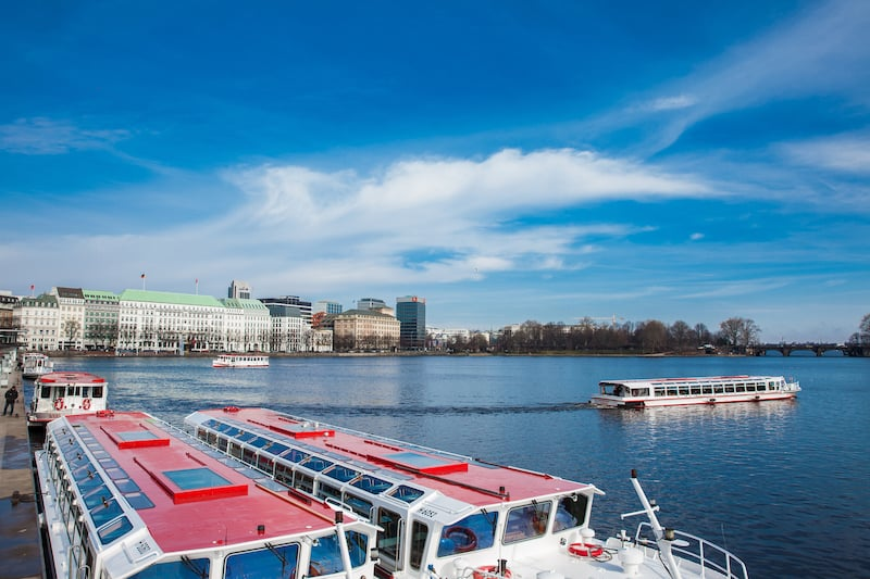 HAMBURG, GERMANY - Touristic boats at the Inner Alster Lake in Hamburg
