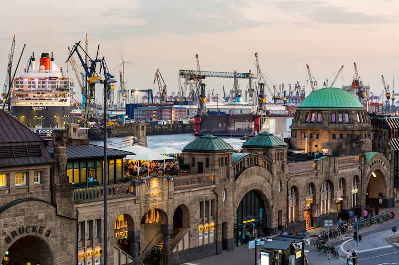 HAMBURG GERMANY - : View of the St. Pauli Piers (German: St. Pauli Landungsbrucken) one of Hamburg's major tourist attractions. Its the largest landing place Hamburg.