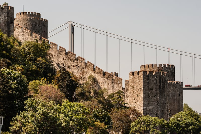 ISTANBUL, TURKEY - : Ancient castle Rumeli fortress and towers