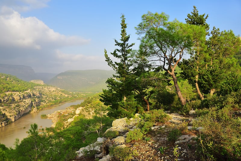 Goksu river landscape, Turkey. Place where in 1190, while on the Third Crusade, Emperor Frederick Barbarossa drowned in the river