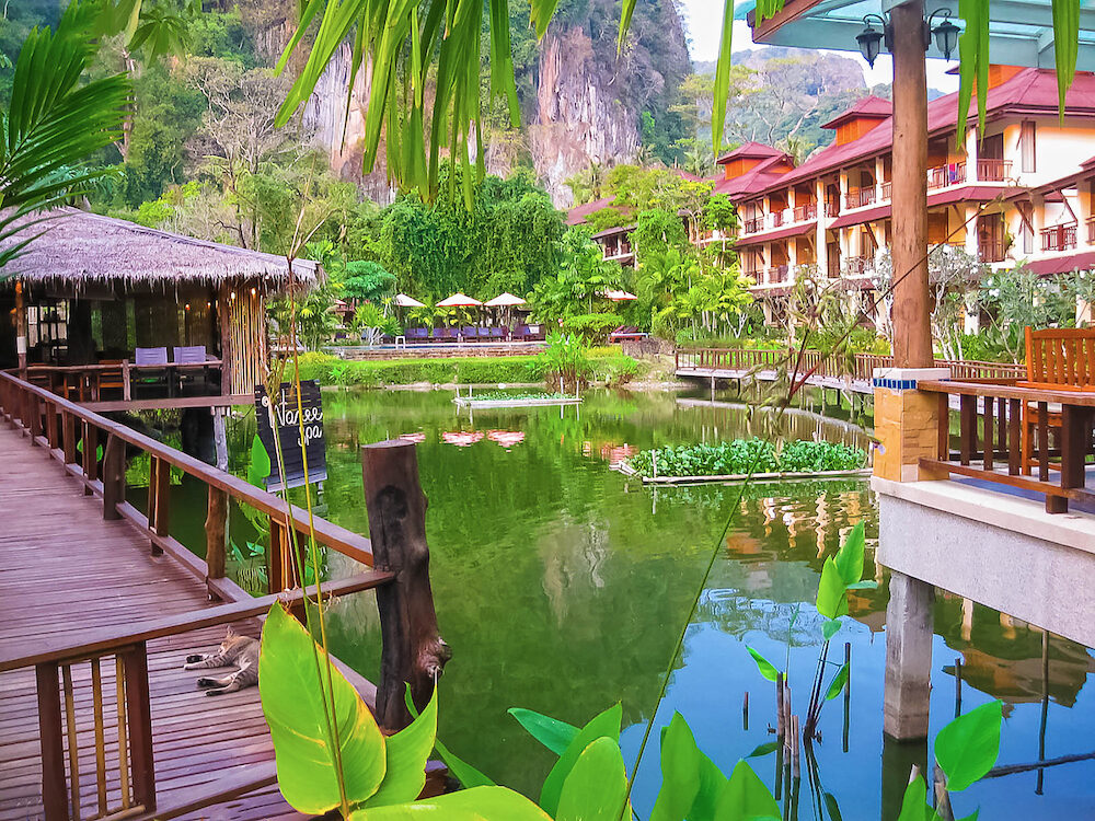 Railay, Krabi, Thailand - : The pond at Railay Village Resort at tropical Thailand island at Railay, Krabi, Thailand