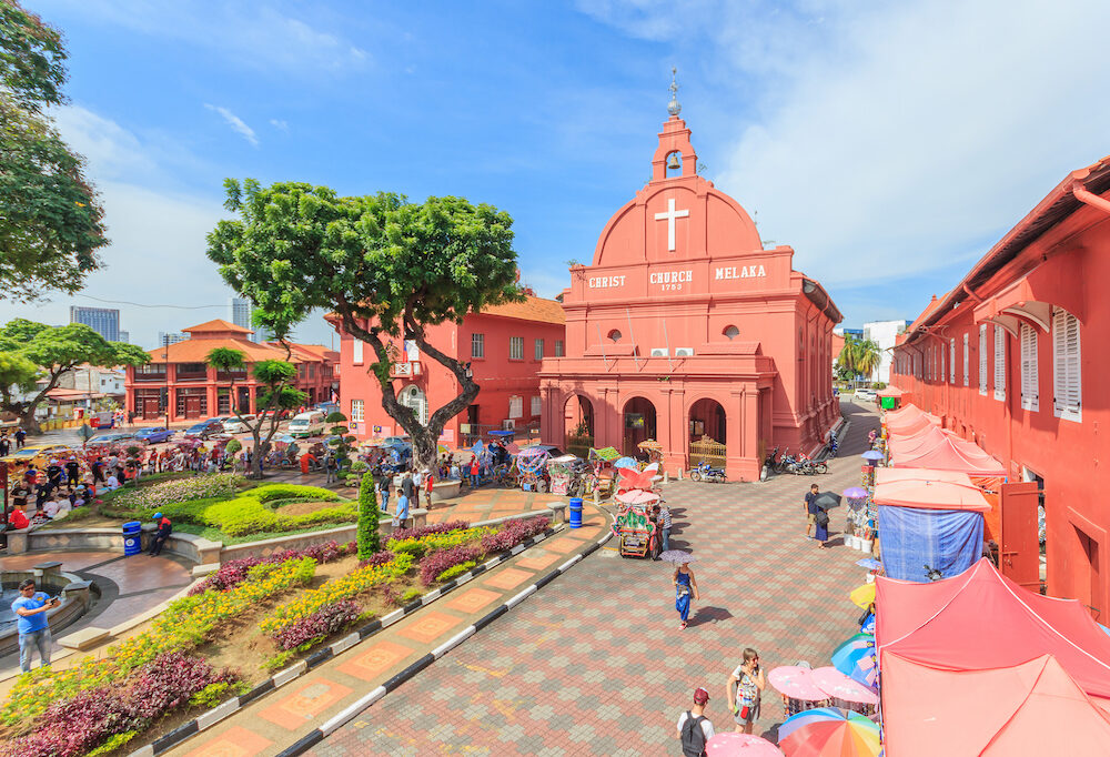 MALACCA, MALAYSIA - : A view of Christ Church & Dutch Square in Malacca Malaysia. It was built in 1753 by Dutch & is the oldest 18th century Protestant church in Malaysia.