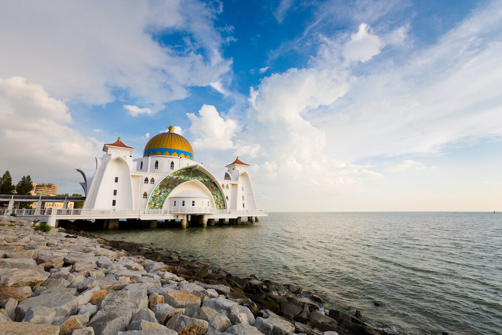 Beautiful architecture of Melaka Straits Mosque in Malacca city in Malaysia. Beautiful sacral building in south east Asia.