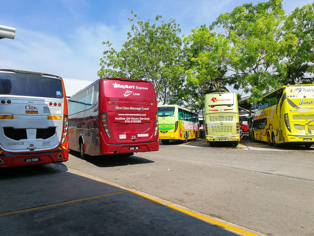Melaka Malaysia - Buses parking at Melaka Sentral which is the largest public transportation terminal in Melaka city traveling to various cities in Malaysia and Singapore.