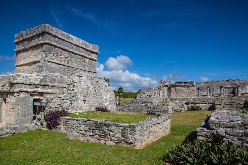 Tulum, Mexico - Majestic ruins in Tulum.Tulum is a resort town on Mexicos Caribbean coast. The 13th-century, walled Mayan archaeological site at Tulum National Park overlooks the sea.