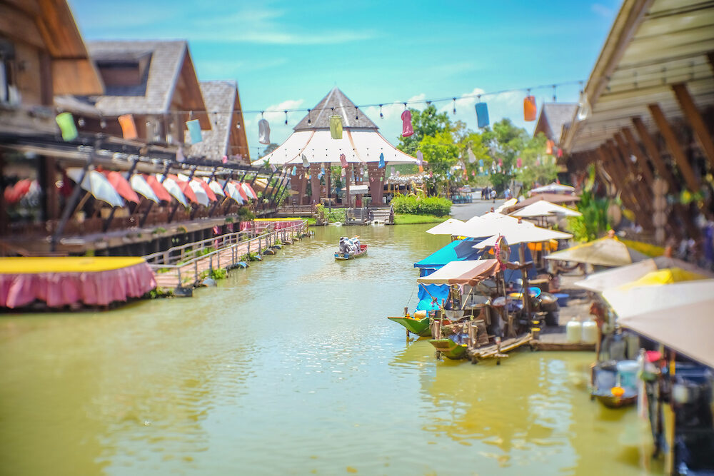 Pattaya Floating Market in Chonburi City Thailand on Holiday.Pattaya Floating Market is the Famous Floating Market near Pattaya and very Popular for Tourist
