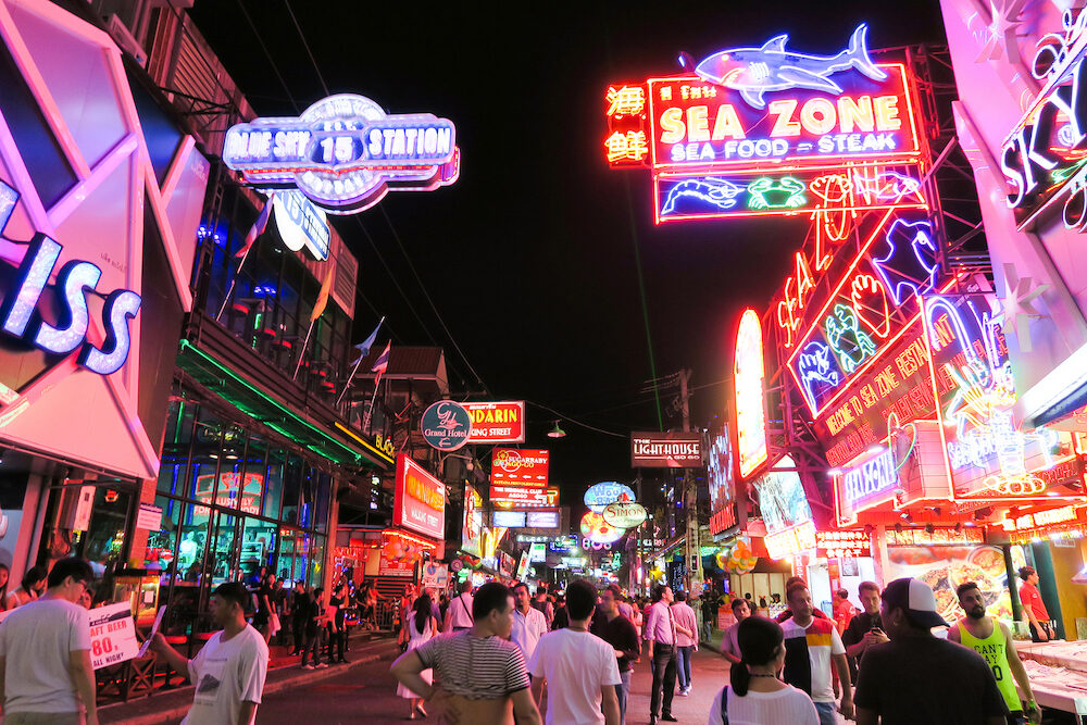 Walking Street in Pattaya at night PATTAYA, THAILAND : The street is a tourist attraction that draws foreigners and Thai nationals, The Walking Street area includes seafood restaurants, beer bars, nightclubs and hotels.