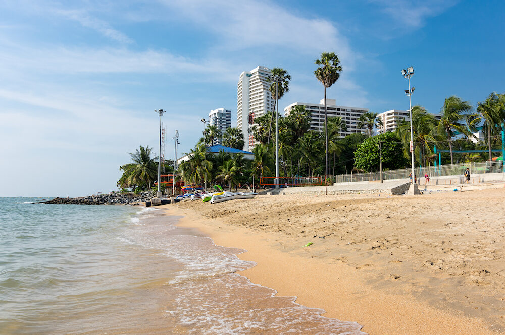 View of the beach of Pattaya, a resort city in Thailand on the east coast of the Gulf of Thailand