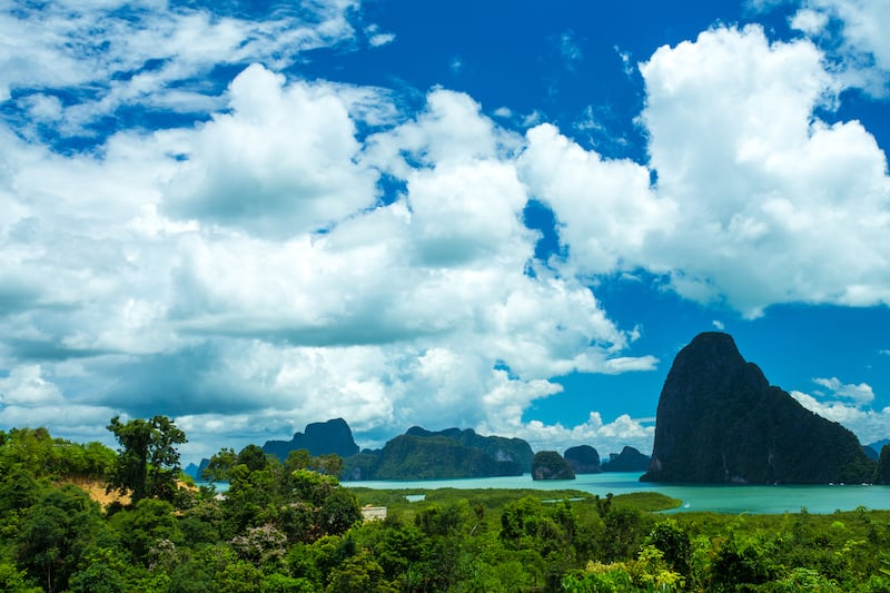 Beautiful View of Phang Nga Bay in Samed Nang Chee Viewpoint, Phang Nga, Thailand