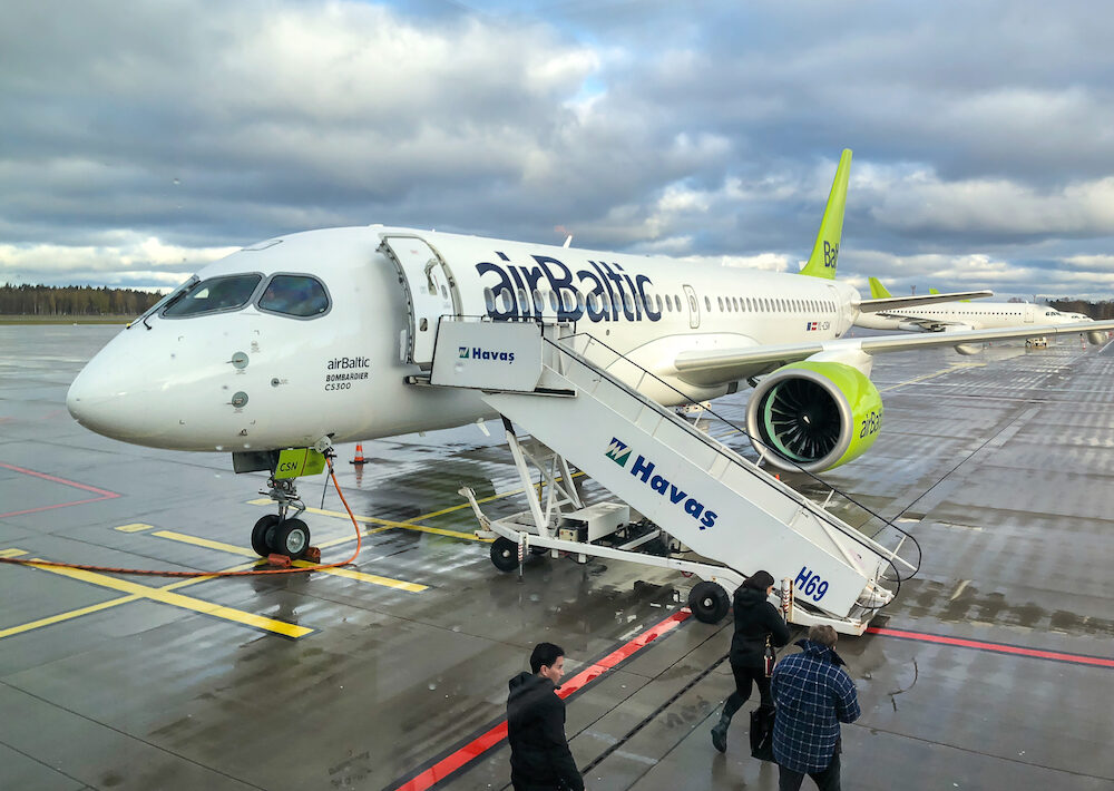 Riga, Latvia - AirBaltic Aircraft preparation for departure in the Riga International Airport.