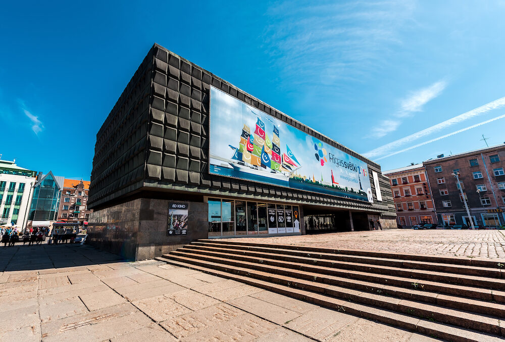 Riga Latvia- Day view of the Museum of the Occupation of Latvia. Museum visitors may become acquainted with historical documents pictures and items testifying occupation power politics in Latvia