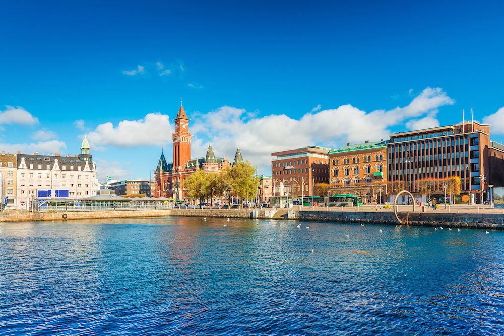 Helsingborg - Sweden: Harbour in the city of Helsingborg. Cityscape with modern and historical buildings. Swedish port city