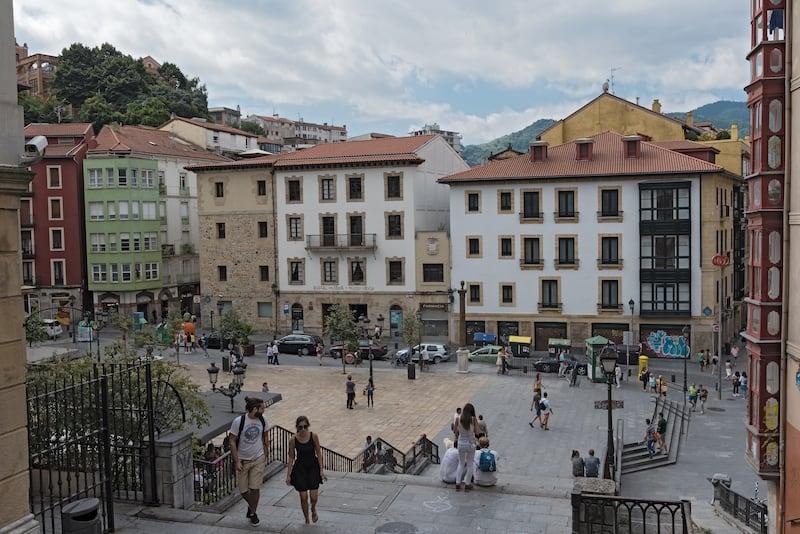 BILBAO, SPAIN-people in the square and bars on the unamuno square, bilbao, spain.