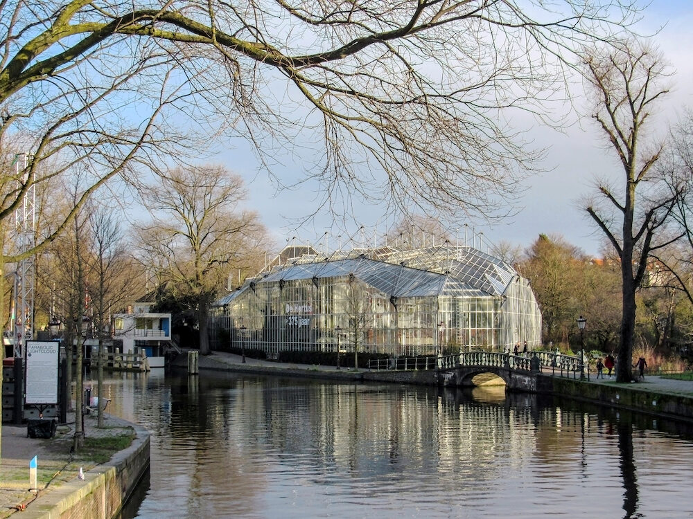 Amsterdam, Holland, Netherlands - Hortus Botanicus, botanical garden near one of the city canals